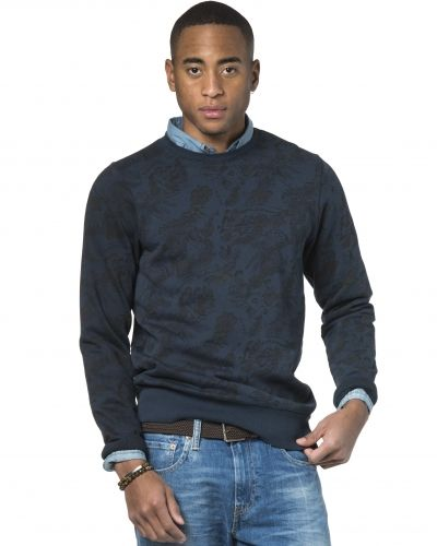 Dstrezzed Crew Neck Hawaii Print Dark Navy