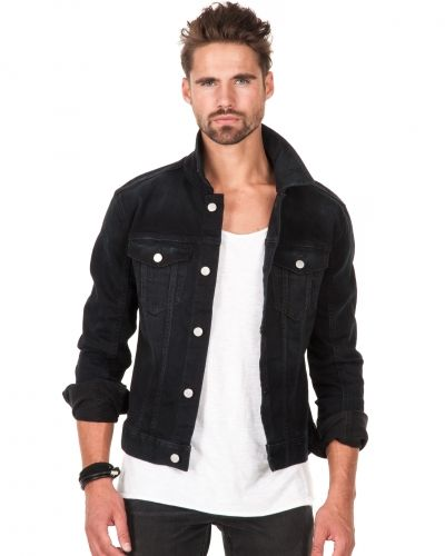 herr jeans jacka svart lack