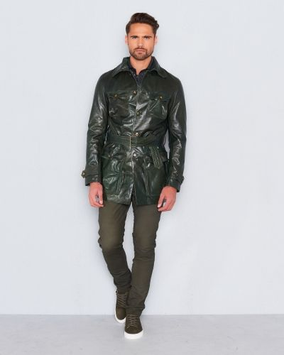 Castor Pollux Militarius Leather Coat Darke Green