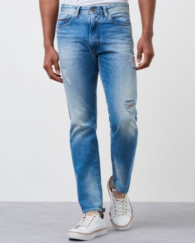 Slim Straight Slater MBBD 911 Mid Right Blue Destructed Tommy Hilfiger Denim straight leg jeans till herr.