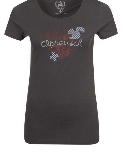 Alprausch PAULA HOLZHERZ Tshirt med tryck Grått - Alprausch - Kortärmade träningströjor