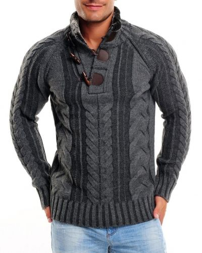 Stickad Stickad tröja modena mörkgrå -