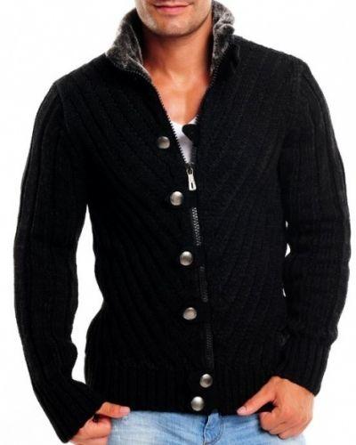 Stickad tröja toscana svart - Stickad tröja till herr.