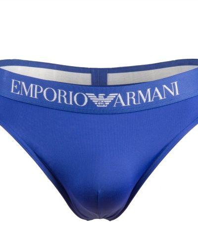 Till herr från Emporio Armani, en blå stringkalsong.
