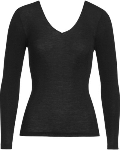 Hanro Hanro Woolen Silk Ls Shirt Black
