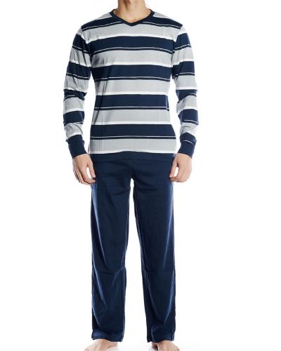 Pierre Hector Pierre Hector Jersey Long Pyjamas Set Navy