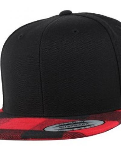 Yupoong Yupoong - Checked Flanell Peak Black/Red Snapback