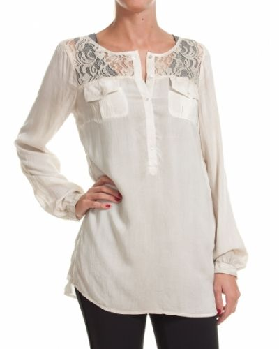 Saint Tropez SAINT TROPEZ BLUS WITH LACE CREME - Large