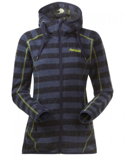 Bergans Humle Lady Jacket S, Navy Striped/NeonGreen