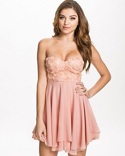 Te Amo 3D Rose Detailed Bandeau Dress