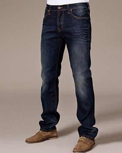 Till herr från Nudie Jeans, en blå straight leg jeans.