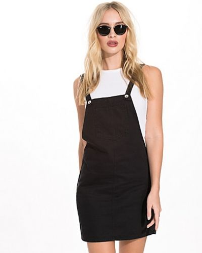 New Look Black Denim Dungaree Pinafore Dress