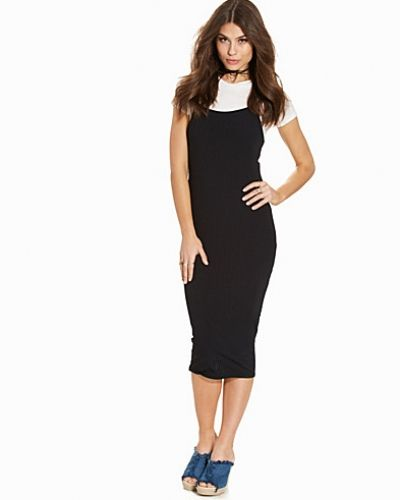 New Look Black Ribbed 2 in 1 Midi T-Shirt Dress