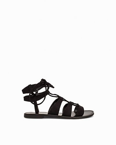 Black Suedette Ghillie Sandals New Look sandal till dam.