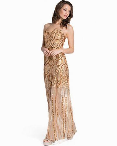 Guld maxiklänning från Nly Eve till dam.