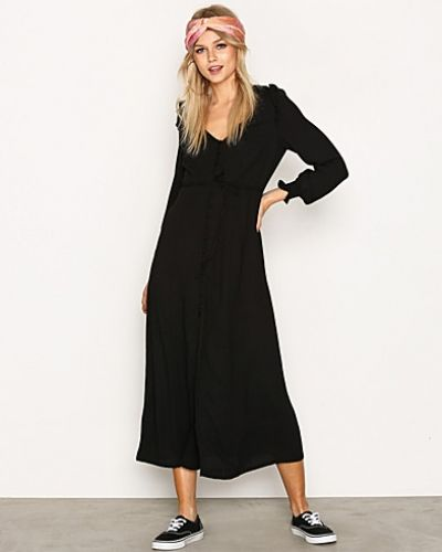 New Look Button Front Long Sleeve Midi Dress
