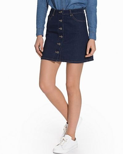 Button Through A-Line Denim Mini Skirt Miss Selfridge jeanskjol till tjejer.
