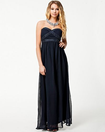 Ax Paris Chiffon Strapless Jewel Maxi Dress
