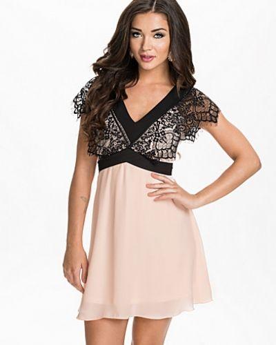 Elise Ryan Contrast V-Neck Lace Chiffon Dress