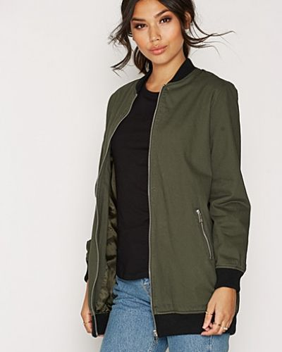 New Look Cotton Twill Longline Bomber Jacket