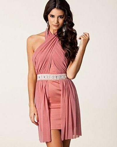 Elise Ryan Cross Front Mesh Dress