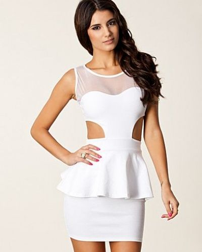 Cut Out Mesh Peplum Dress Club L studentklänning till tjejer.