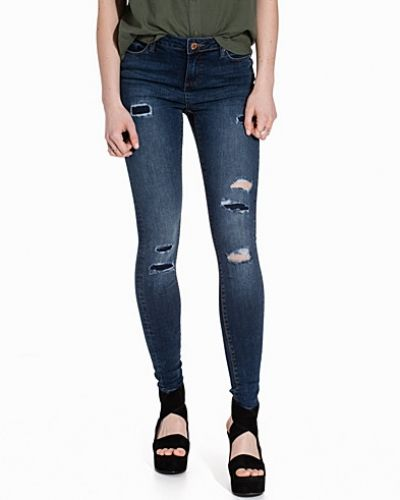 Blå slim fit jeans från Miss Selfridge till dam.