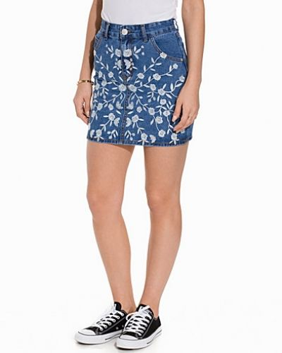 Jeanskjol Denim Embroidered Skirt från Glamorous