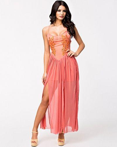 Rare London Embellished Mesh Front Maxi Dress