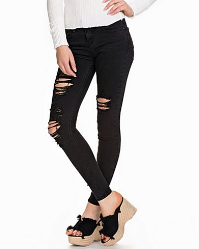 New Look Extreme Rip Black Jeans