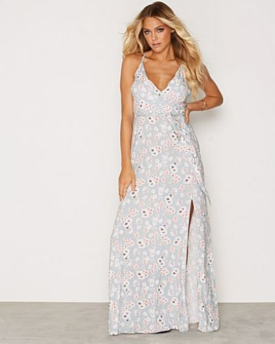 New Look Floral Print Tie Waist Wrap Front Maxi Dress