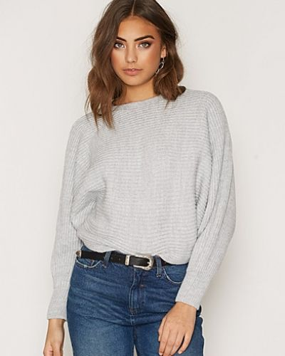 Miss Selfridge Grey Slouchy Ribbed Knitted Jumper