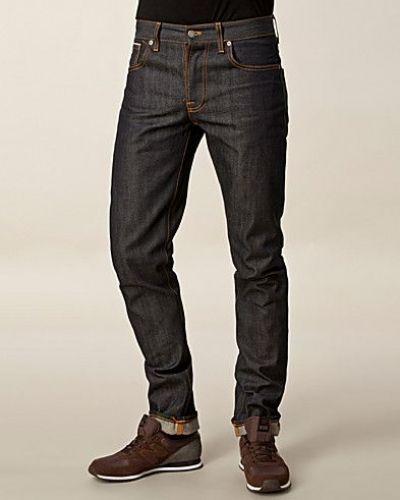 Till herr från Nudie Jeans, en blå slim fit jeans.