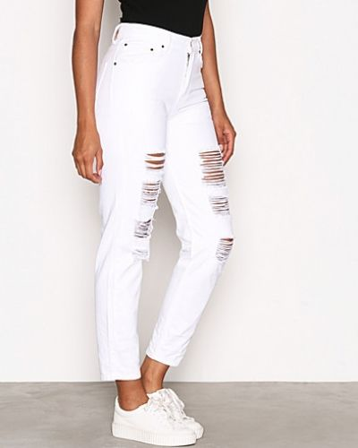 Straight leg jeans High Waist Destroy Denim från NLY Trend