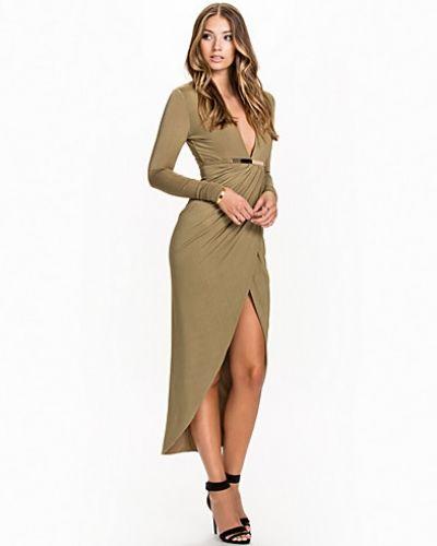 L/S Slinky Plunge Dress Rare London maxiklänning till dam.
