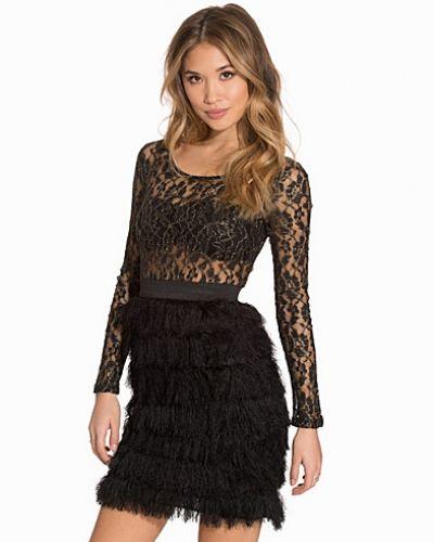 Lace Fringe Dress Rare London långärmad klänning till dam.