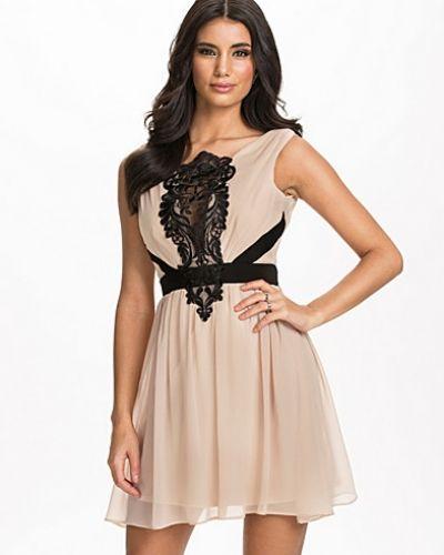 Elise Ryan Lace Front Waistband Chiffon Dress