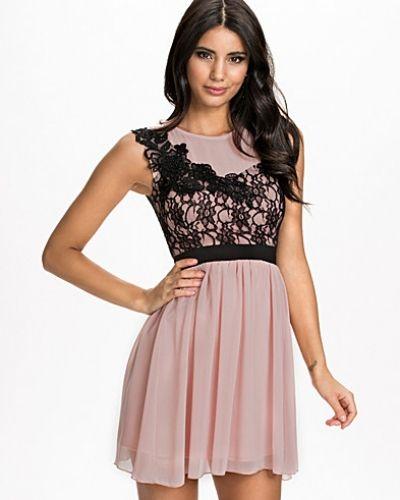 Elise Ryan Lace Top Waistband Chiffon Dress