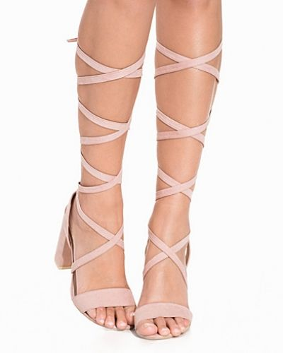 Högklackade Lace Up Block Heel Sandal från Nly Shoes