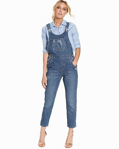 Topshop Long Denim Dungaree