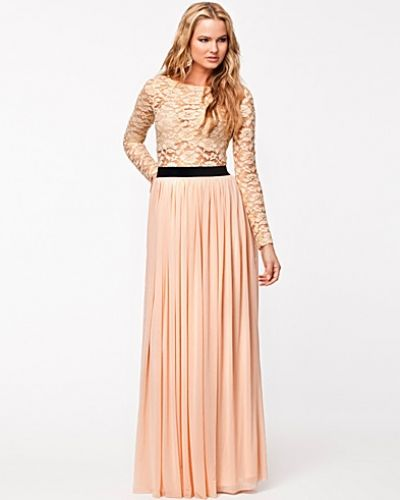 Rare London Long Sleeve Metallic LaceTop Maxi Dress