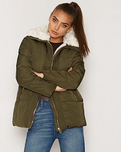 New Look Lux Borg Trim Puffer Jacket