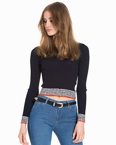 Topshop Marl Trim Rib Crop Jumper