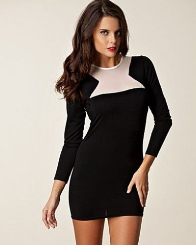 John Zack Mesh Insert Bodycon Dress