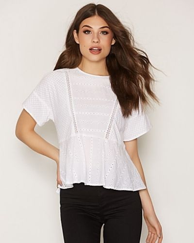 Topshop Mix Broderie Peplum Top