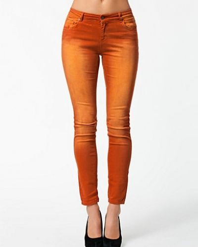 Orange slim fit jeans från Morris till dam.