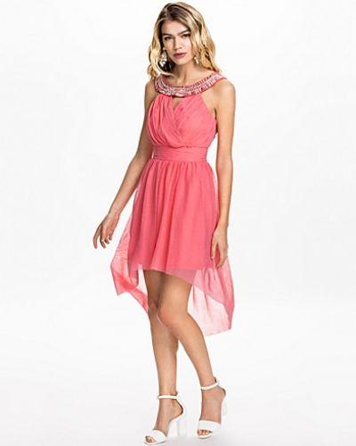 Elise Ryan Necklace Mesh Low Hem Dress