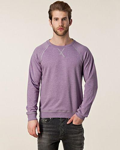 Till killar från Cheap Monday, en lila sweatshirts.