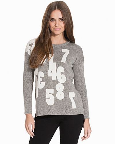 Topshop Numbers Knitted Sweatshirt