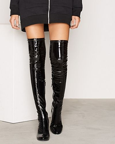 Patent Thigh High Boot Nly Shoes högklackade till dam.